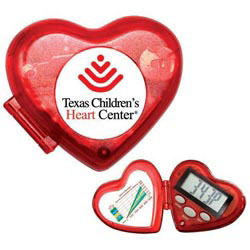 Custom imprinted Heart Pedometer