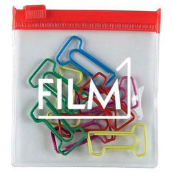 Custom imprinted #1 Clip Multi-Color Clipsters in a Pouch