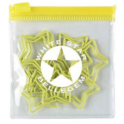 Custom imprinted Star Yellow Clipsters In A Pouch