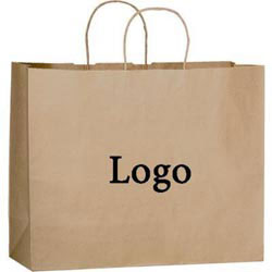 Custom imprinted Natural Kraft Paper Shopper Bag