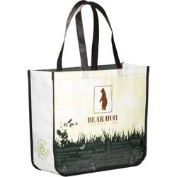 Custom imprinted Laminated Non-Woven Large Shopper Tote