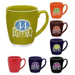 Custom imprinted 22 Oz. Large Color Bistro with Accent Mug