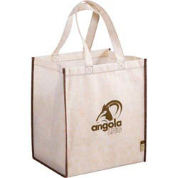 Custom imprinted CLOSEOUT Jute Non-Woven Renew Tote