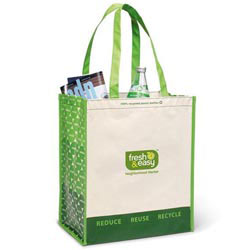 Custom imprinted Laminated 100% Recycled Shopper Tote
