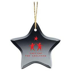 Custom imprinted Glass Star Ornament