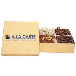 Custom imprinted Gold Gift Box With Nuts And Pretzels
