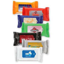 Custom imprinted Antibacterial Wet Wipes In Pouch