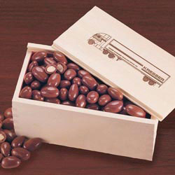 Custom imprinted Wooden Collector's Box with Milk Chocolate Almonds