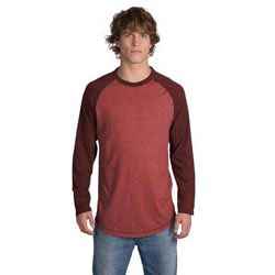 Custom imprinted District Threads Heathered Jersey Long Sleeve Ragl