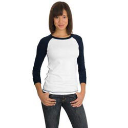 Custom imprinted District Threads Junior Ladies 3/4-Sleeve Perfect