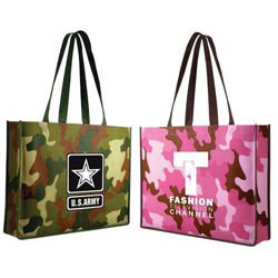 Custom imprinted Non-Woven Camo Tote Bag