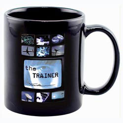 Custom imprinted 11oz Full Color Black Stoneware Executive Mug