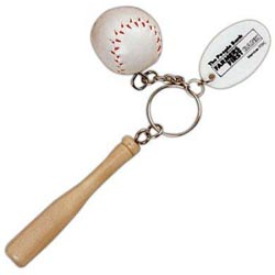 Custom imprinted Baseball Bat & Ball Key Chain