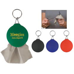 Custom imprinted Rubber Key Chain With Microfiber Cleaning Cloth