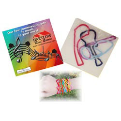 Custom imprinted SQUIGGLES Shapely Rubber Bands