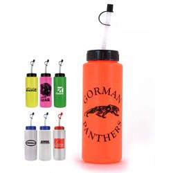 Custom imprinted 32 oz. Sports Bottle with Flexible Straw
