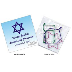 Custom imprinted Six Chanukah Shape SQUIGGLES Rubber Bands