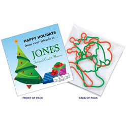 Custom imprinted Six Christmas Shape SQUIGGLES Rubber Bands