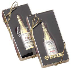 Custom imprinted Laurent Chocolate Champagne Bottle 1oz