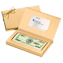 Custom imprinted Money Gift Boxed Chocolate Bars