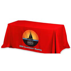 Custom imprinted 4-Sided 6' Throw Style Table Covers