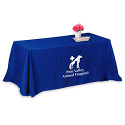 Custom imprinted 4-Sided 8 Foot Throw Style Table Cover