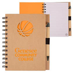 Custom imprinted Recycle Die Cut Notebook: Basketball