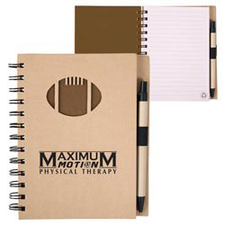 Custom imprinted Recycle Die Cut Notebook: Football