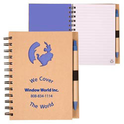 Custom imprinted Recycle Die Cut Notebook: Globe