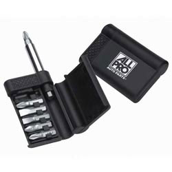 Custom imprinted 8-piece Belt-Clip Compact Screwdriver Kit