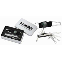 Custom imprinted Multi-Function Knife and Carabiner / Compass Set