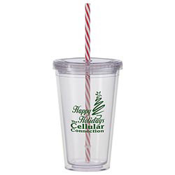 Custom imprinted 16 oz. Double Wall Tumbler with a Candy Cane Straw
