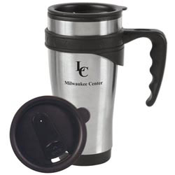 Custom imprinted Stainless Power Grip Travel Mug