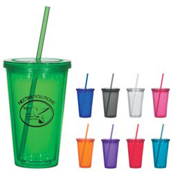 Custom imprinted 16 Ounce Double Wall Acrylic Tumbler With Straw