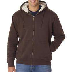 Custom imprinted UltraClub Adult Sherpa-Lined Full-Zip Fleece