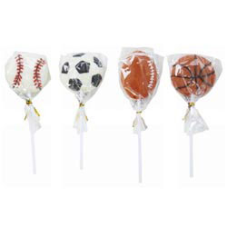 Custom imprinted Sweet Surprises Sports Theme Lollipops