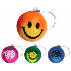 Custom imprinted Mood Smiley Face Stress Key Chain