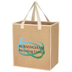 Custom imprinted Medium Craft Paper Laminated Polypropylene Shopper
