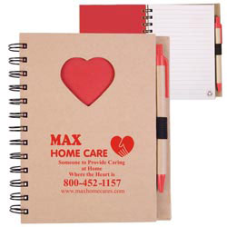 Custom imprinted Recycle Die Cut Notebook: Heart