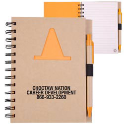 Custom imprinted Recycle Die Cut Notebook: Construction Cone