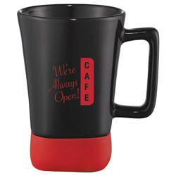 Custom imprinted Fuerte Ceramic mug with silicone bottom