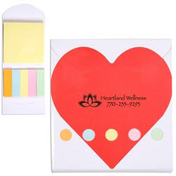 Custom imprinted Pocket Sticky Note Memo Book - Heart
