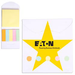Custom imprinted Pocket Sticky Note Memo Book - Star