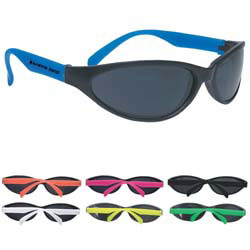 Custom imprinted Wave Rubberized Sunglasses