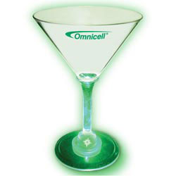 Custom imprinted 7oz Lighted Standard Stem Martini Glass