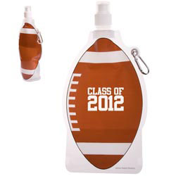 Custom imprinted HydroPouch! Football Collapsible Water Bottle