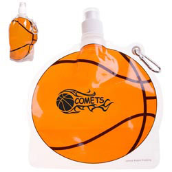 Custom imprinted HydroPouch! Basketball Collapsible Water Bottle