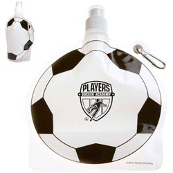Custom imprinted HydroPouch! Soccer Ball Collapsible Water Bottle