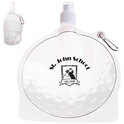 Custom imprinted HydroPouch! Golf Ball Collapsible Water Bottle