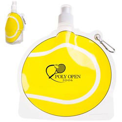 Custom imprinted HydroPouch! Tennis Ball Collapsible Water Bottle